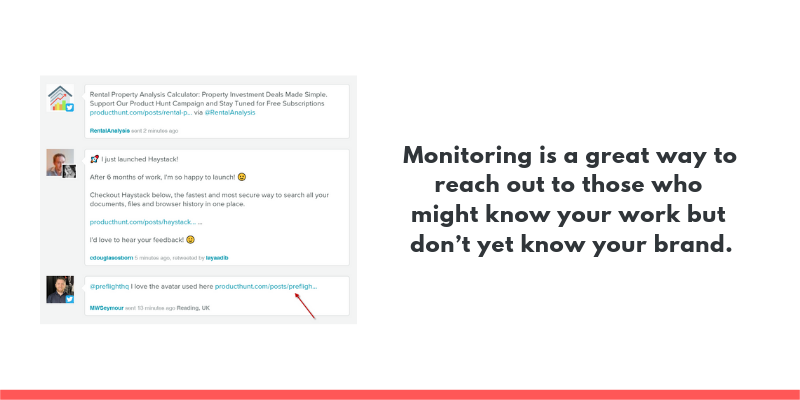 Monitoring is a great way to reach out to those who might know your work but don't yet know your brand.